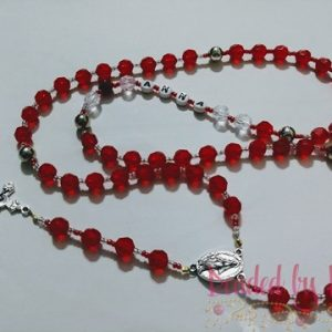 """Anna's Roses"" Red Rosary necklace"
