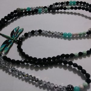 """Queen Jade"" Waist beads ""Dragon fly mega charm included"""