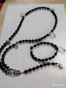 """Steelers Nation Set"" 30 inch rosary & Matching wrist bracelet."