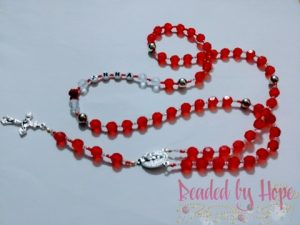 """""""Anna's Roses"""" Red Rosary necklace"""