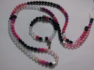 """Pink Lemonade"" Waist bead with matching wrist bracelet"