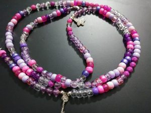 """""""PINK PASSION"""" waist beads. (Butterfly charm and 'bling' Skeleton key charms included)"""
