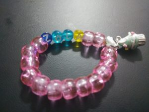 """""""Little Miss"""" wrist bracelet with customized name & cup cake charm (charm included)"""